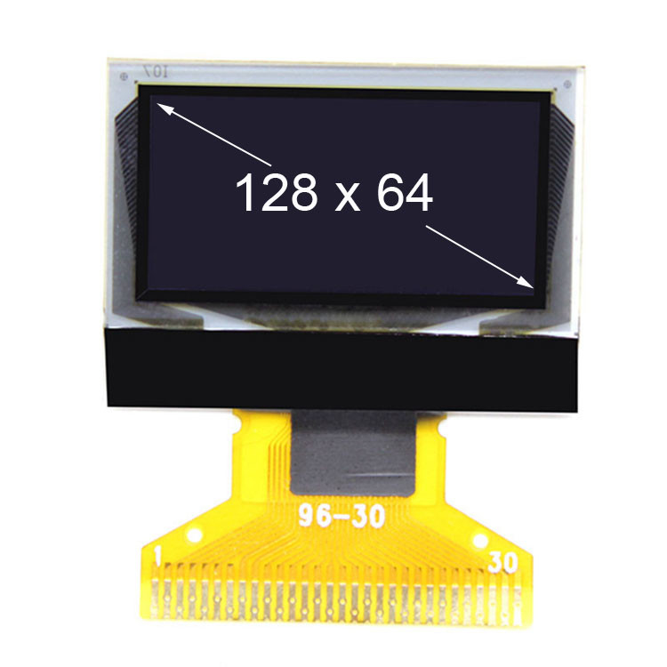 White Color 0.96inch TFT PMOLED Display manufacturer 128 * 64 Pixel